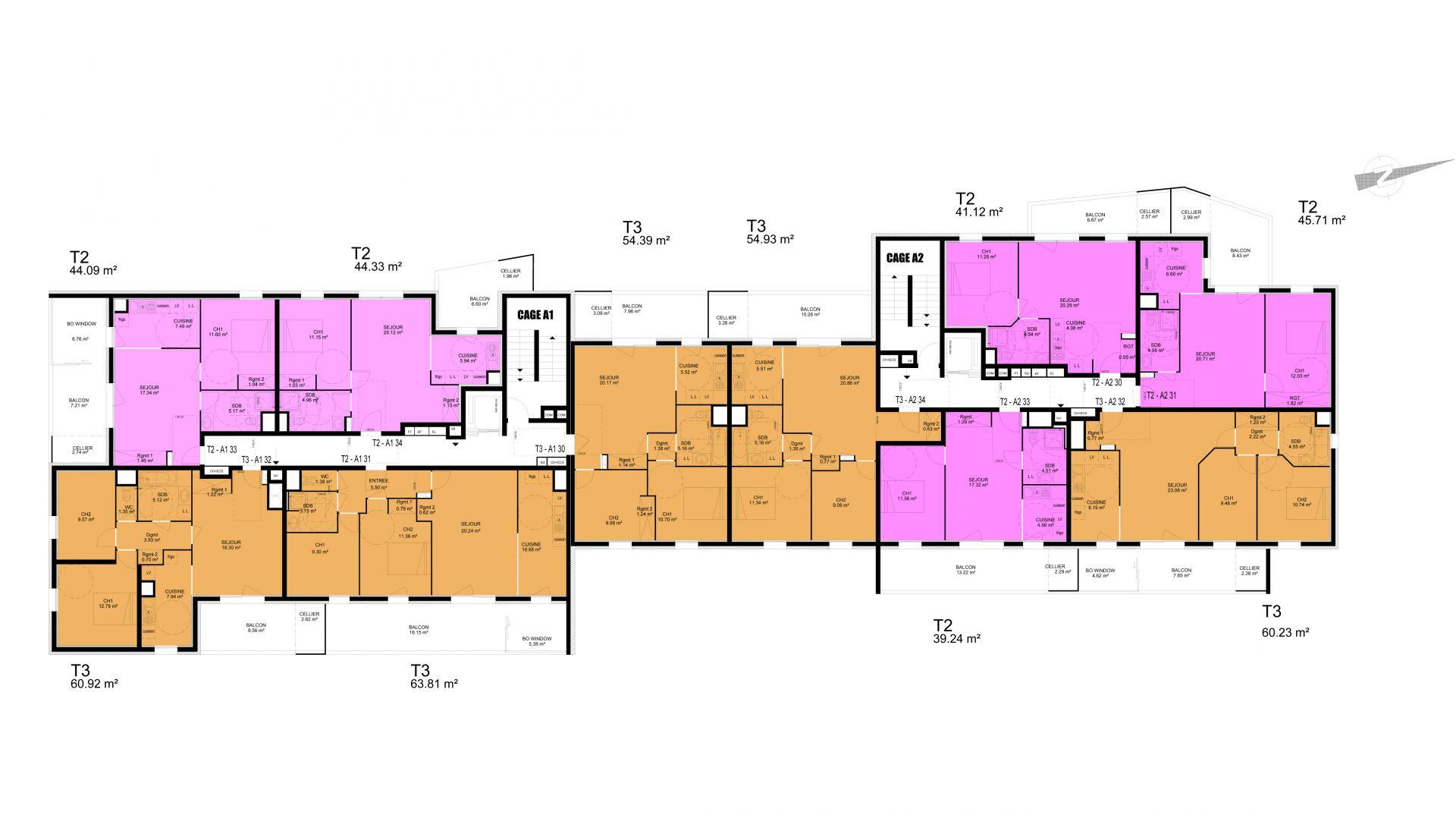 plan de l'étage courant